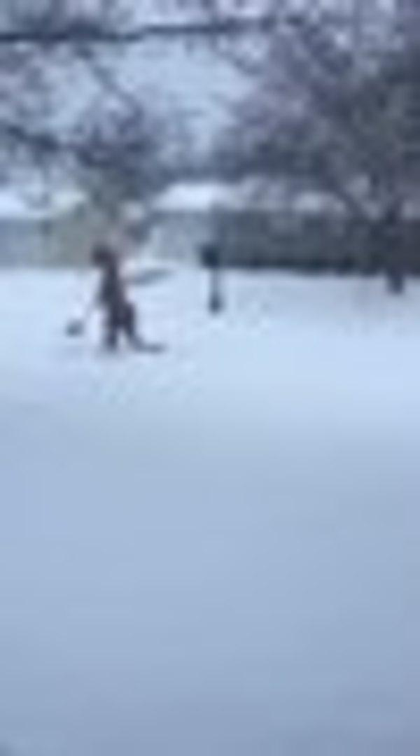 Here Is A Guy Shoveling Snow Dressed As Darth Vader On Unicycle While Playing Flaming Bagpipes
