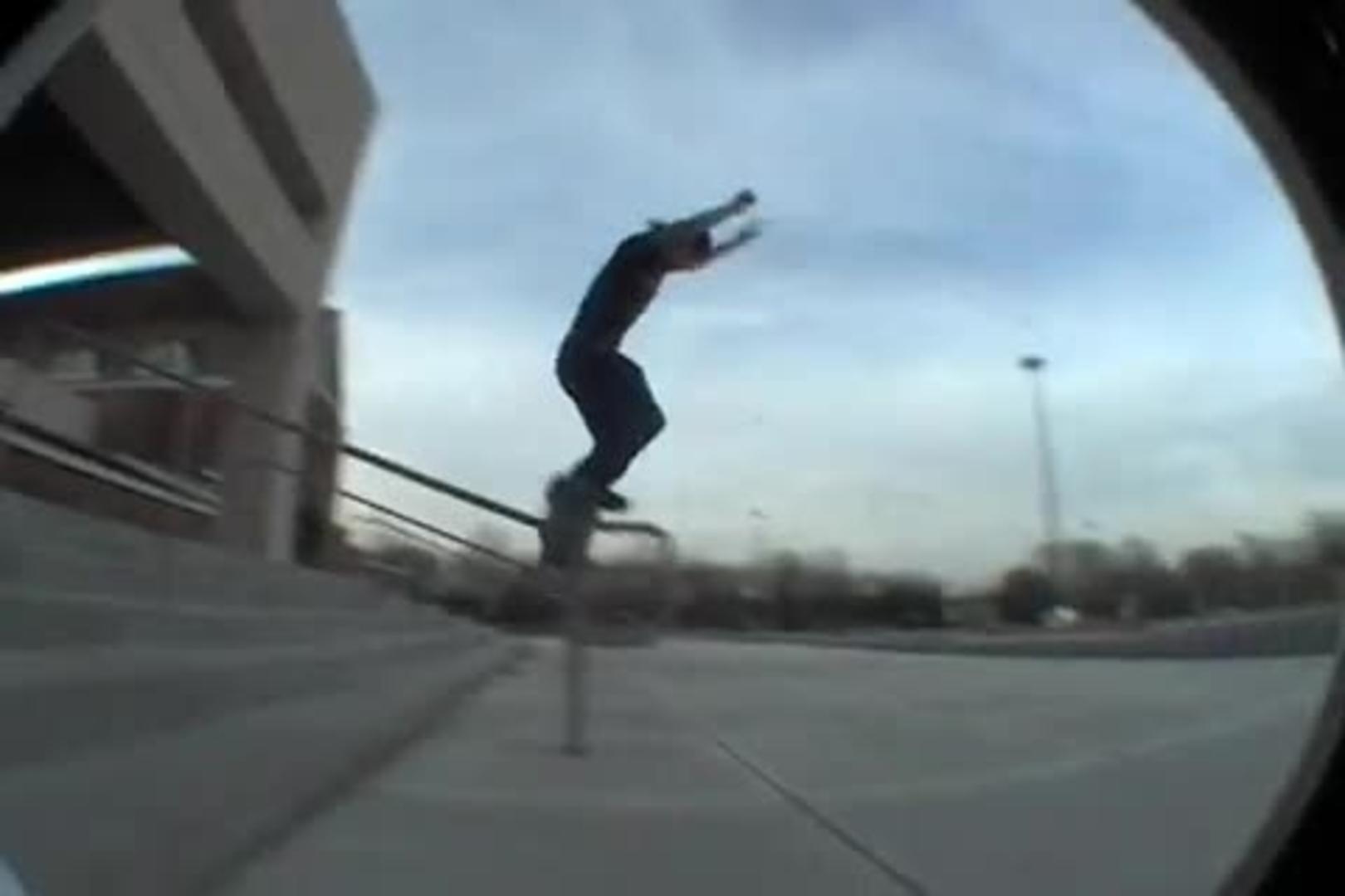 guy on skateboard crashes into ladders jukin media