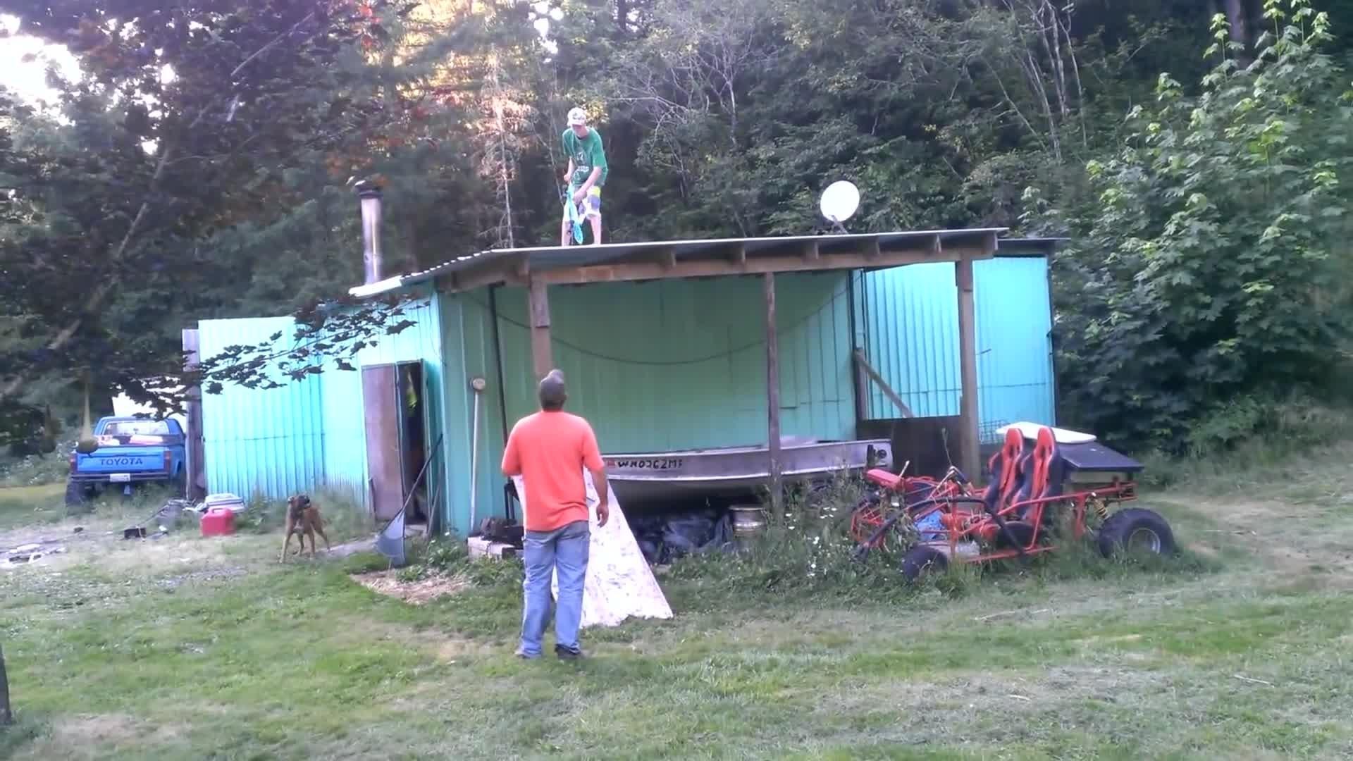 redneck skateboarding roof jump fail jukin media