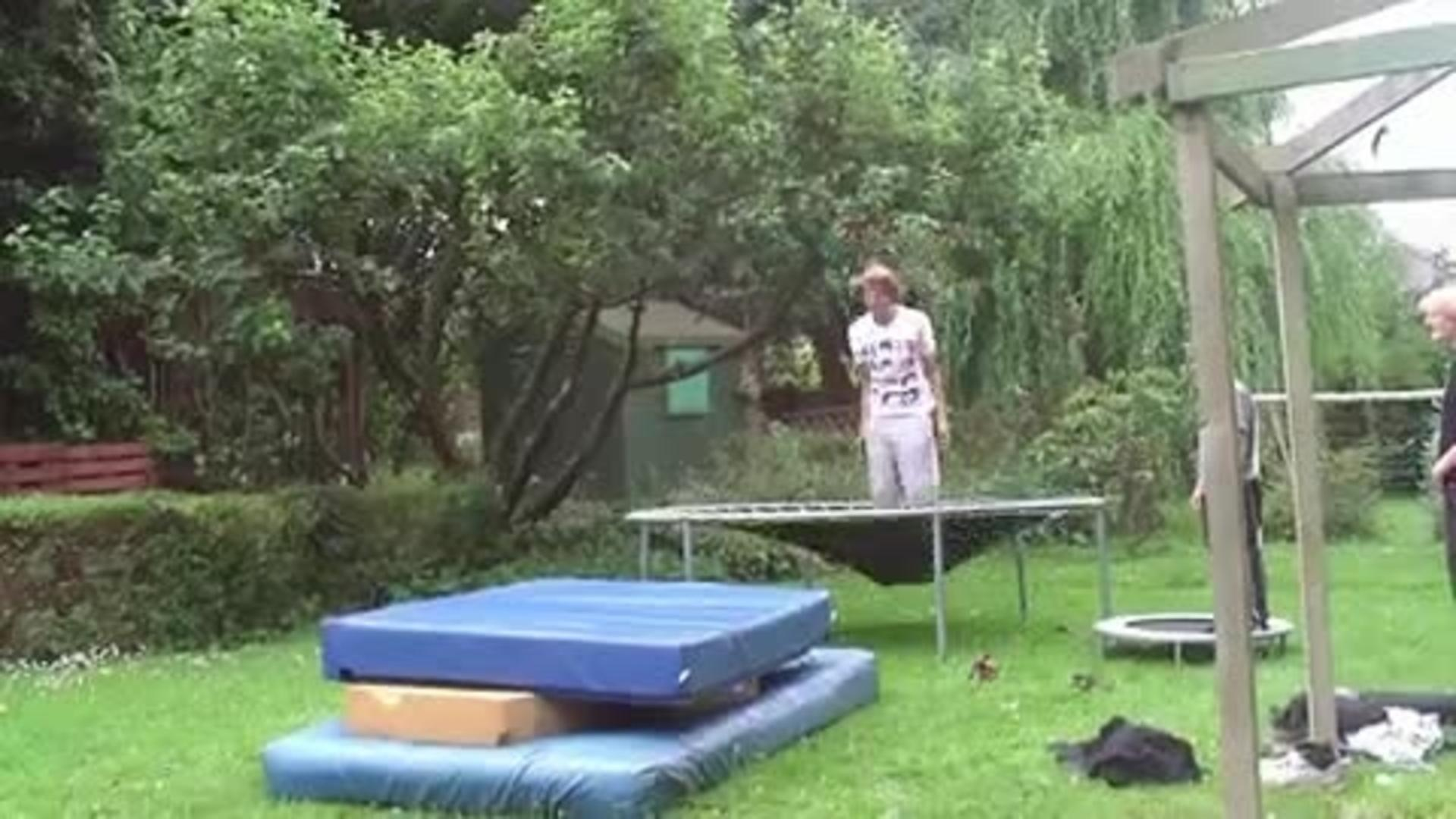 kid flipping off trampoline falls on back jukin media