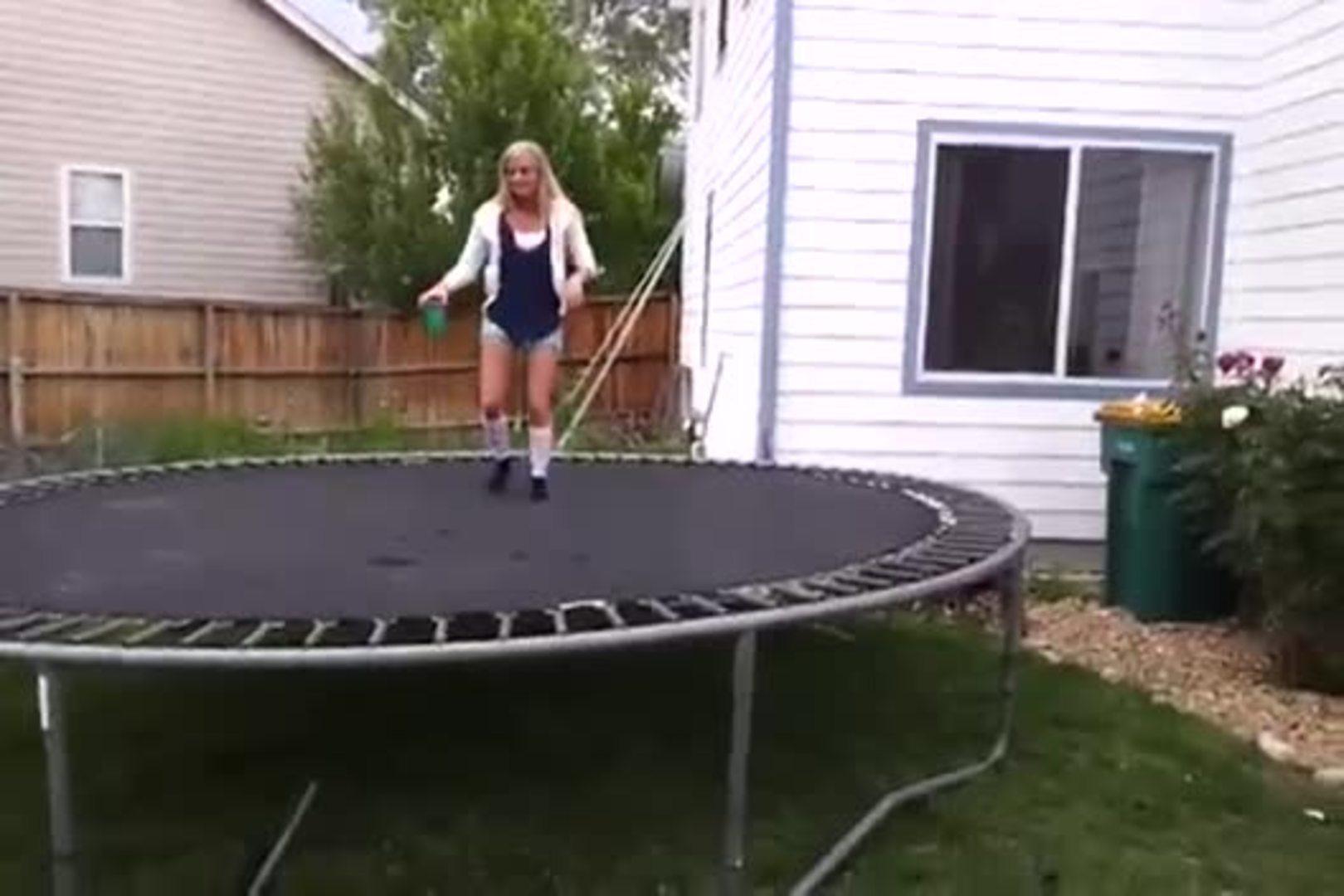 kid flipping off trampoline falls on back jukin media
