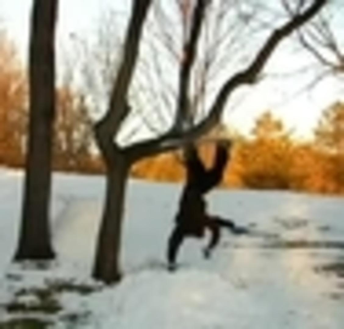 Snowboard Backyard Jump Through Tree Fail