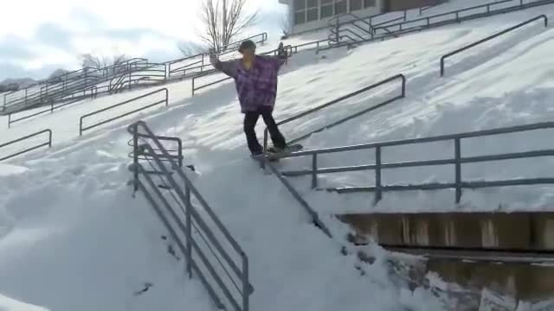 snowboarding rail slide awkward fall jukin media
