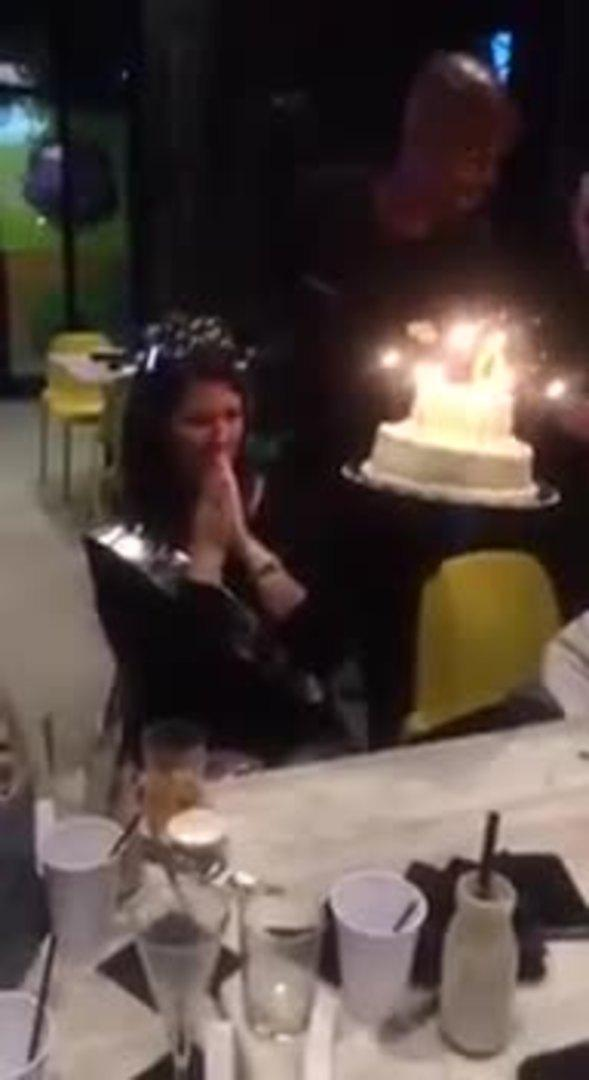Hair Catches Fire On Birthday Cake Candles