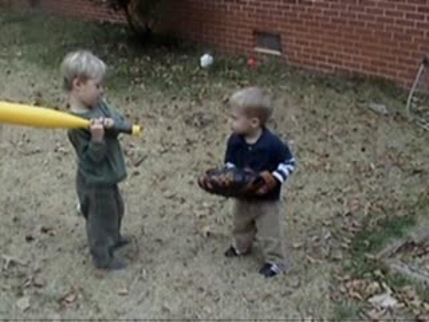 kid accidentally hits brother with bat jukin media