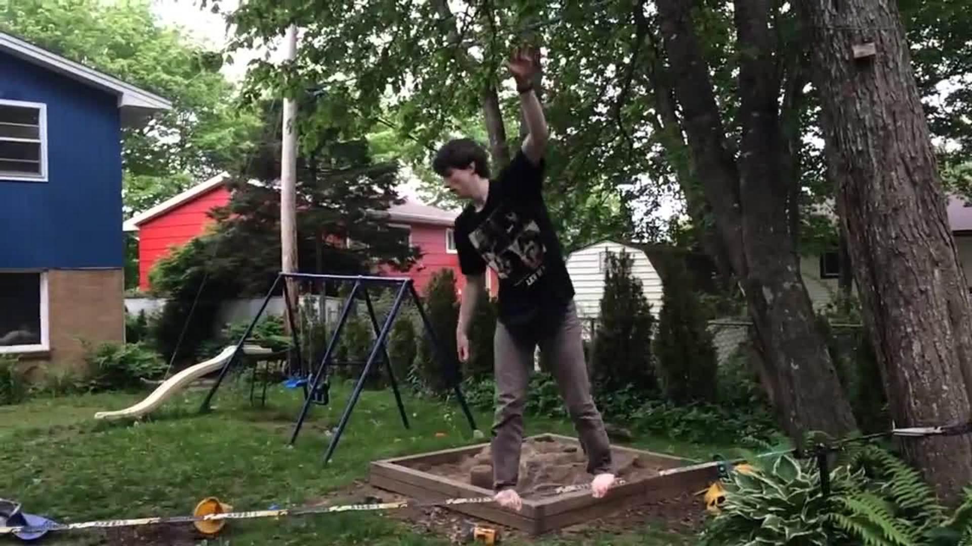 Backyard Slackline Falls Off