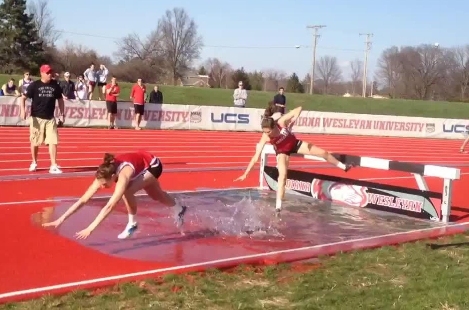 Steeplechase runner faceplants into water jukin media for Steeplechase