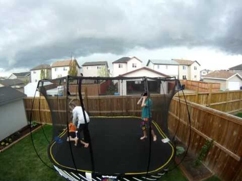 trampoline flies out of backyard jukin media