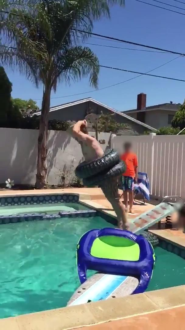 Guy Breaks Diving Board While Jumping into Pool | Jukin ...