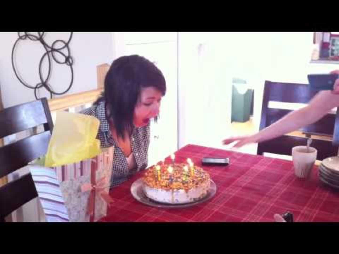 Girls Hair Catches On Fire While Blowing Out Candles